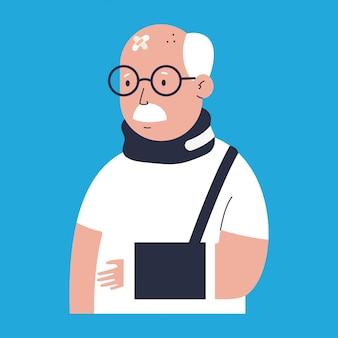 Oude man met letsel karakter geïsoleerd op blauw