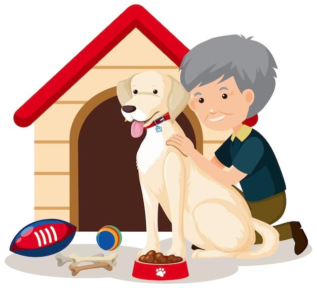 Oude man met schattige hond en hondenhok op wit