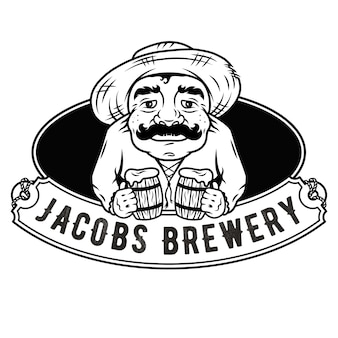 Oude man met twee pinten bier embleem logo bar menu