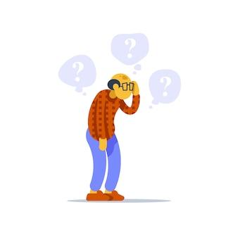 Oude man permanent en denken, betrokken senior persoon, vraagteken zeepbel