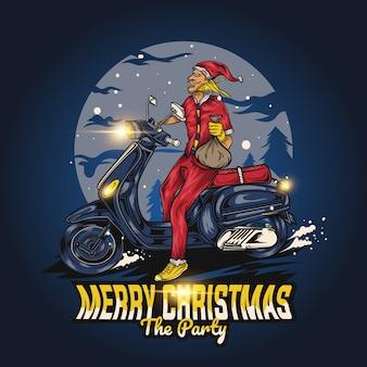 Oude man rijdt vespa met kleren van de kerstman
