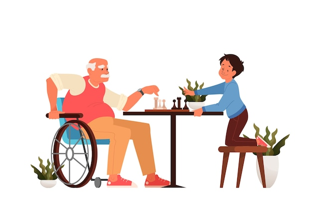 Oude man schaken met zijn kleinzoon. mensen zitten aan de tafel met een schaakbord. schaaktoernooi tussen oude en jonge jongen.