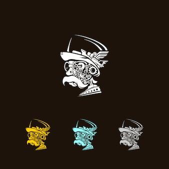 Oude man steampunk logo