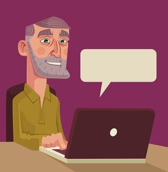 Oude man teken praten over netwerk