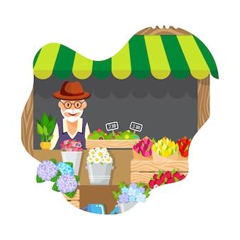 Oude man verkopen bloemen platte vectorillustratie