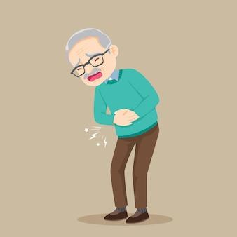 Oude man voelt buikpijn