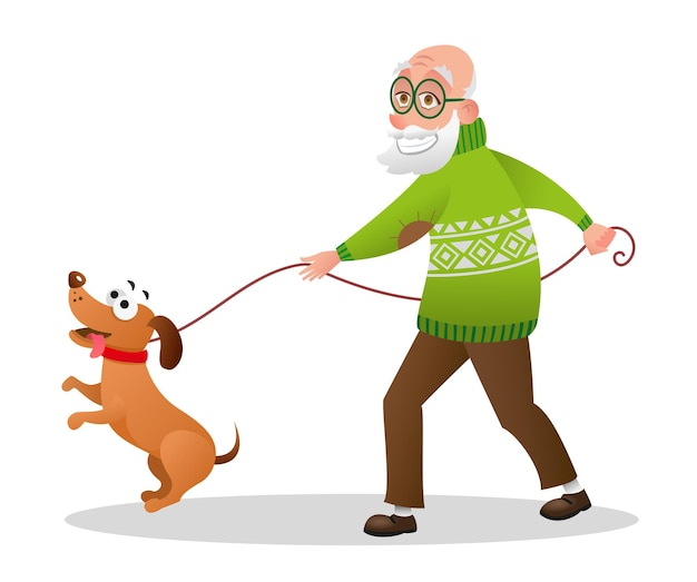 Oude man wandelen met hond. glimlachende grootvader met witte baard en een groene trui wandelen met huisdier