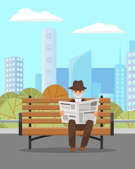 Oude man zit in park en krant lezen
