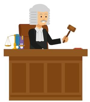 Oude mannelijke rechter lees het wetboek aan het hof