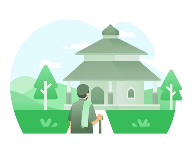 Oude mannen gaan naar moskee illustratie