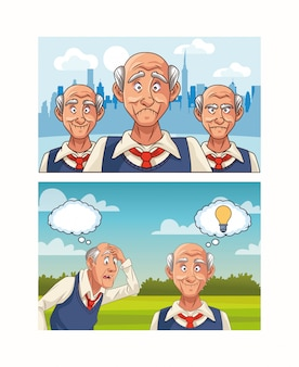 Oude mannen patiënten met karakters van de ziekte van alzheimer