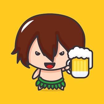 Oude menselijke mascotte met bier in de hand