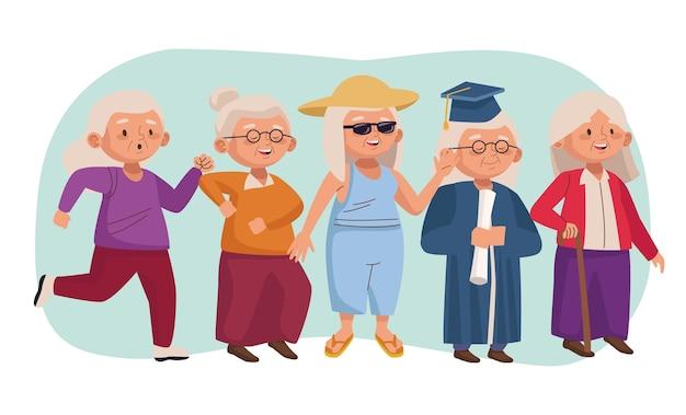 Oude mensen actieve senioren karakters