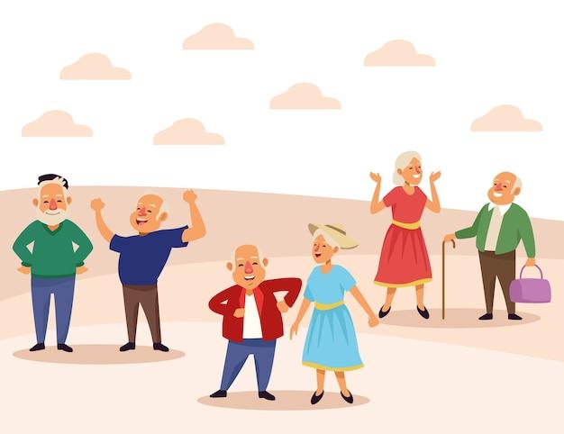 Oude mensen actieve seniorenfiguren in de kampscène.