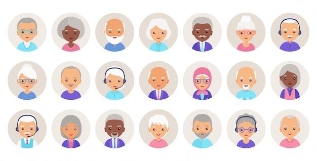 Oude mensen avatar. illustratie. persoon platte pictogram oudere senioren.