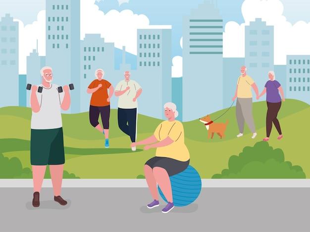 Oude mensen die buitenactiviteiten doen, oefeningen doen en wandelen met de hondenmascotte