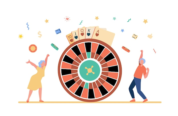 Oude mensen die geld winnen in casino.