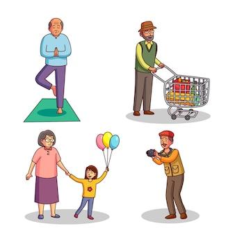 Oude mensen die verschillende activiteiten doen
