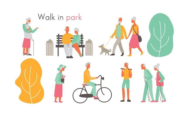 Oude mensen in parkillustratie. oudere actieve stripfiguren wandelen met hond in park