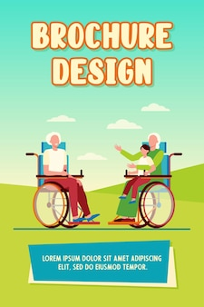 Oude mensen in rolstoel houden kind en praten. pensioen, kind, grootouder platte vectorillustratie
