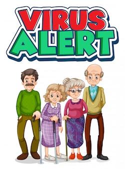 Oude mensen karakter met viruswaarschuwingstekst