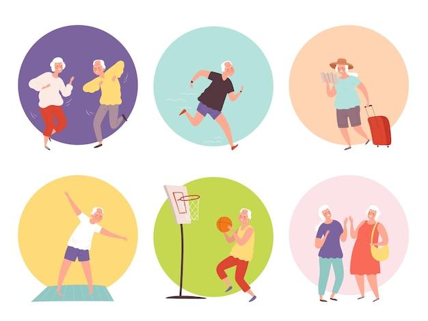 Oude mensen levensstijl. gelukkig ouderen senioren gezonde activiteiten.