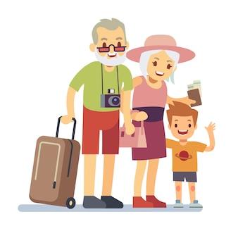 Oude mensen met kleinzoon reizigers op vakantie. glimlachende grootouders op vakantie. gelukkig bejaard veteraan reizend vectorconcept. mensen grootouder met kleinzoon illustratie