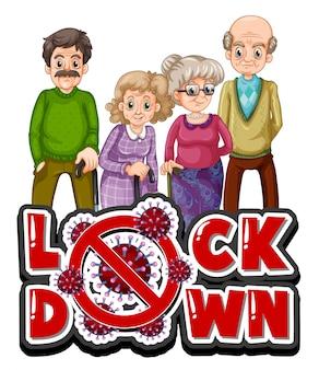 Oude mensen met lockdown-teken