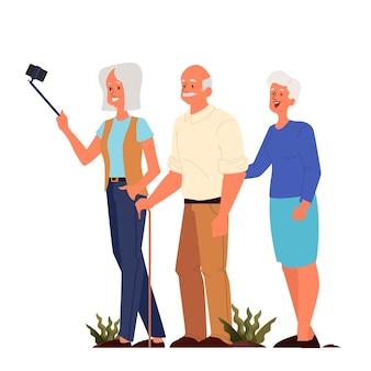 Oude mensen nemen elfie samen. oudere personages die een foto van zichzelf maken. oude mensen leven. senioren met een actief sociaal leven.