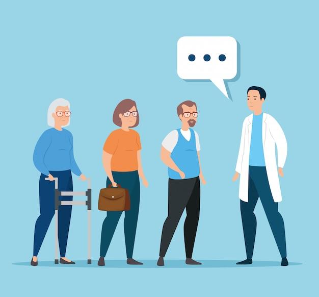 Oude mensen praten over dokter