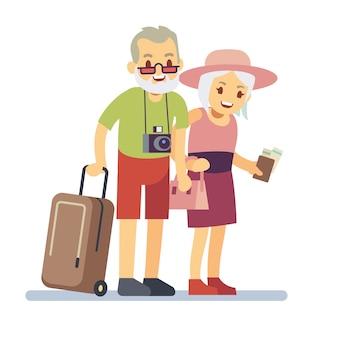 Oude mensen reizigers op vakantie. glimlachende grootouders op vakantie. gelukkig bejaard veteraan reizend vectorconcept. oude reisman en vrouw, grootouders met bagage aan vakantieillustratie