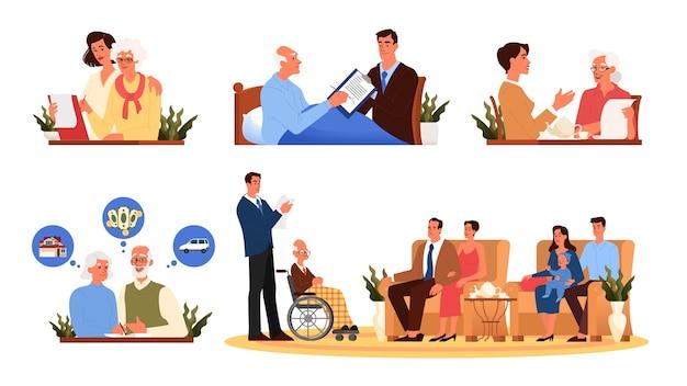 Oude mensen schrijven een testamentreeks. senioren stellen een testament op. pensioen vermogensplanning, eigendomsoverdracht, financieel adviseur en concept van advocaten.