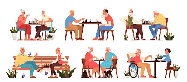 Oude mensen spelen schaakspel. ouderen zitten aan de tafel met een schaakbord. schaaktoernooi tussen oud en jong.