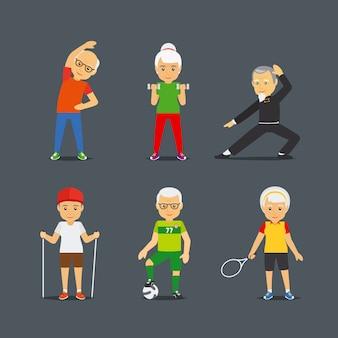 Oude mensen sport levensstijl pictogrammen