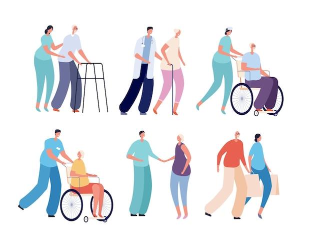 Oude mensen verpleging. lachende vrijwilligers, zorg voor senioren en gehandicapten. werknemers van gezondheidshulpdiensten. ouderen en verpleegkundigen vector set. mensen ouderen en vrijwilligers helpen illustratie