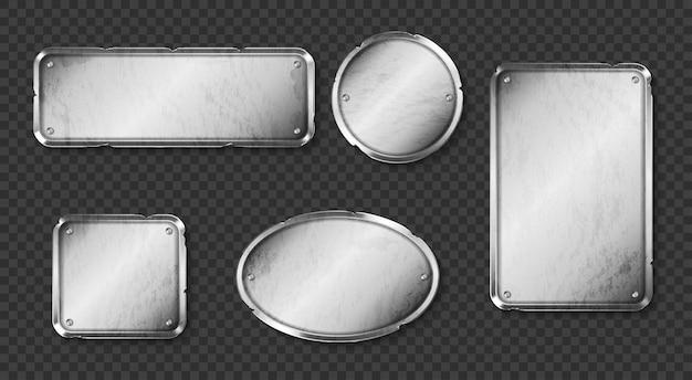 Oude metalen platen, stalen borden met schroeven op transparant