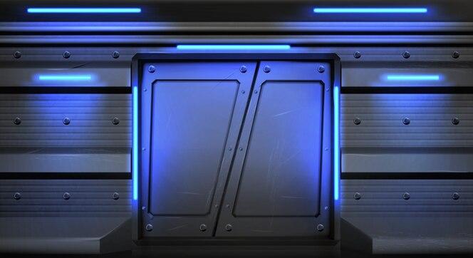 Oude metalen schuifdeuren met gloeiende neonlampen in ruimteschip, onderzeeër of laboratorium.