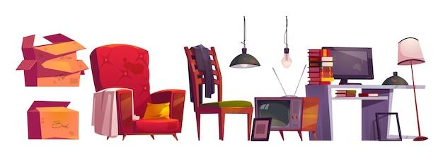 Oude meubels, archiefopslag op huiszolder. vector cartoon set vintage fauteuil, tafel met boeken en monitor, houten stoel, kartonnen dozen, tv en lampen geïsoleerd op een witte achtergrond