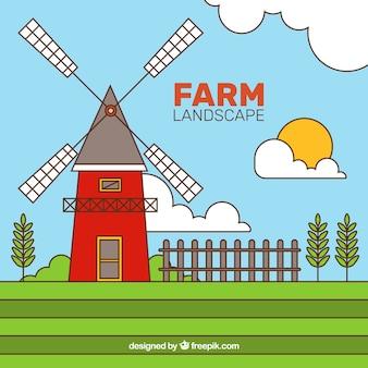 Oude molen in een boerderij landschap met outline