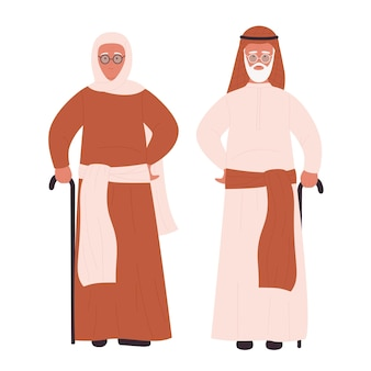 Oude moslim paar illustratie