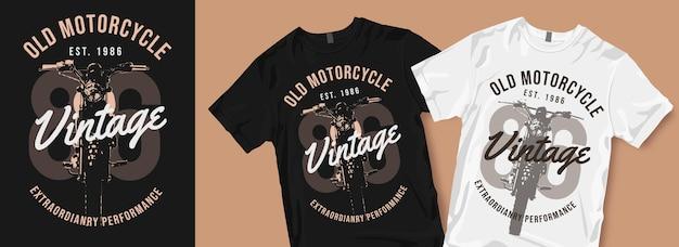 Oude motorfiets vintage t-shirtontwerpen
