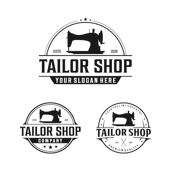 Oude naaimachine voor vintage kleermaker, kleermaker logo-ontwerp