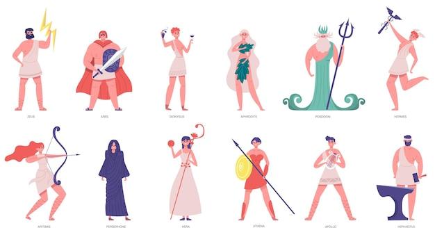 Oude olympische goden. griekse goden en godinnen, zeus, poseidon, athena, dionysus en ares