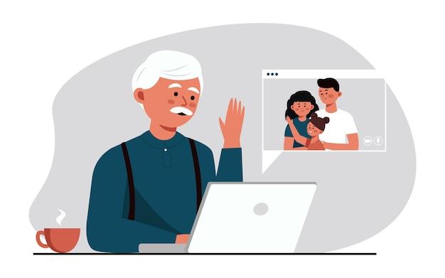 Oude opa communiceert met familie via videolink op computer met camera die communiceert