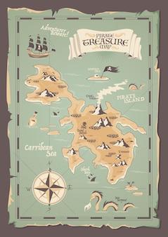 Oude papieren piratenkaart met rafelige randen in grunge-stijl voor schattenjachtillustratie