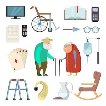 Oude paren met verschillende assistentshulpmiddelen voor het gezonde leven
