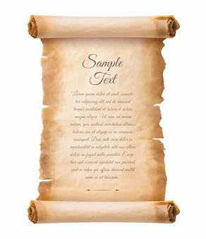 Oude perkamentpapier scroll blad vintage leeftijd of textuur geïsoleerd op een witte achtergrond.
