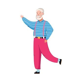 Oude persoon dansende cartoon mannelijke danser die met zijn hand zwaait?