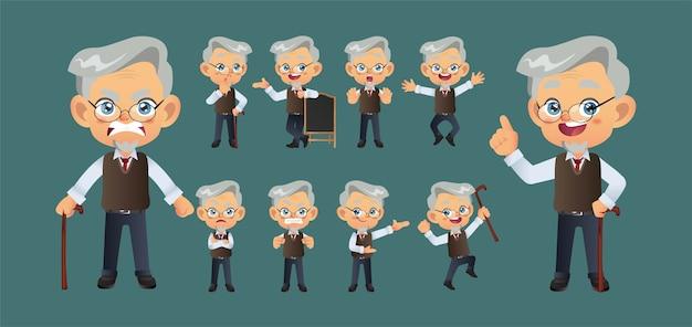Oude persoon met verschillende poses.