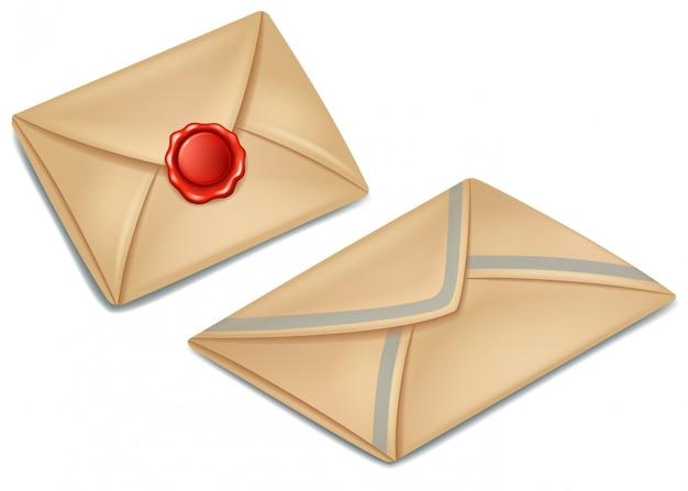 Oude postpapier envelop verzegeld met rode lakzegel
